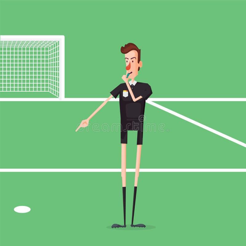 Soccer / Football Referee Showing On Penalty Spot. Cartoon Style Vector Illustration stock illustration