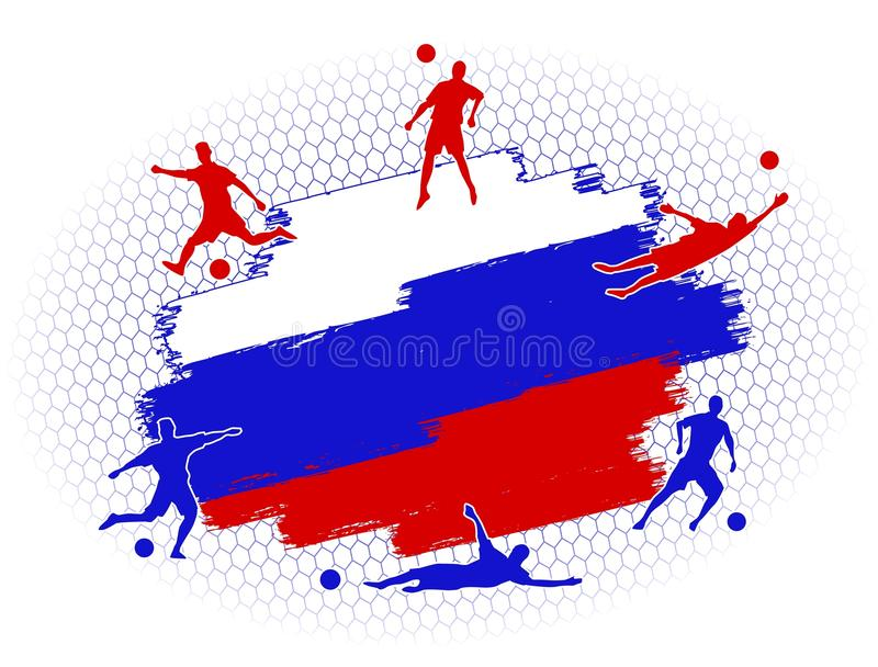Soccer football stadium field with player silhouettes set on Russia flag flat background royalty free illustration