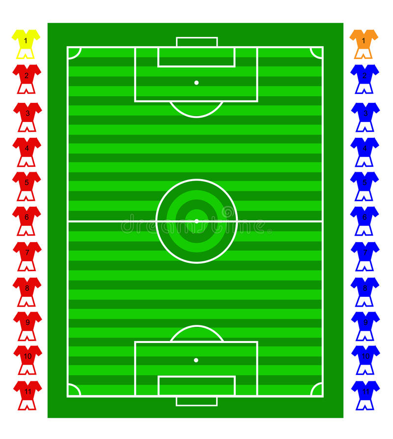 A soccer football tactical pitch stock illustration