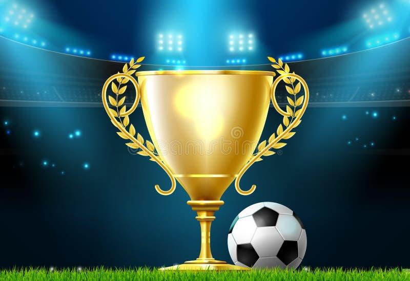 Soccer football trophy prize award on stadium field vector illustration