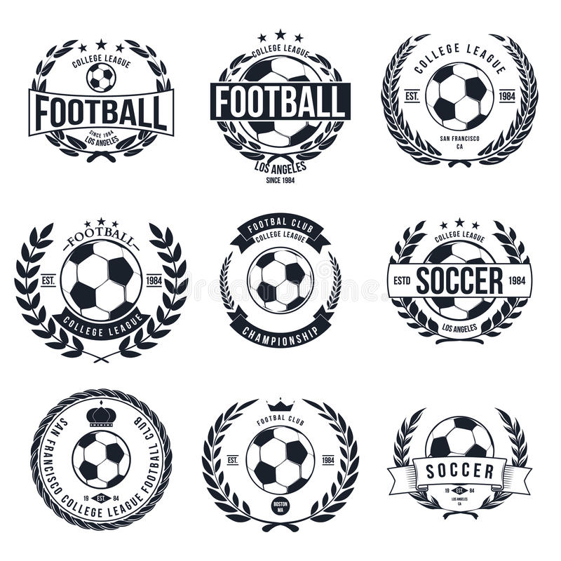 Soccer Football Typography Badge Design Element. Vector royalty free illustration