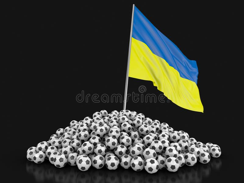 Soccer football with Ukrainian flag. Image with clipping path vector illustration