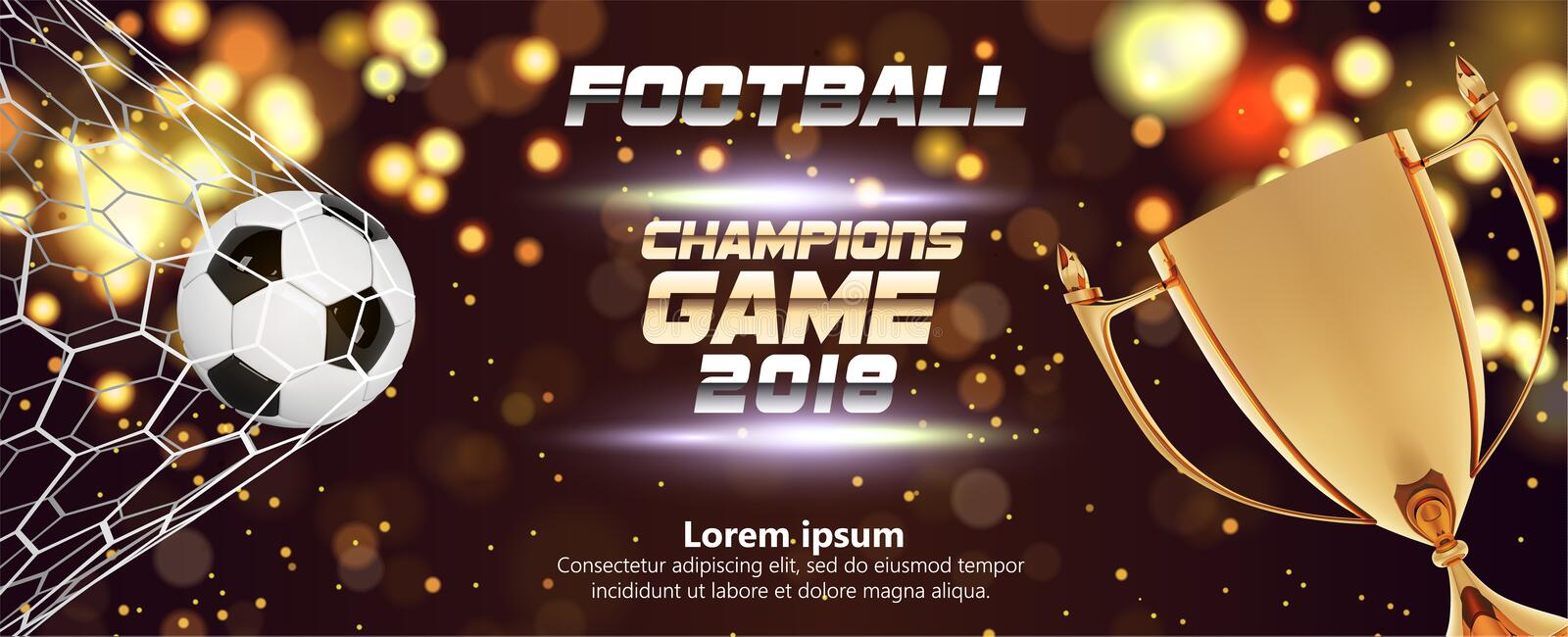 Soccer or Football wide Banner With 3d Ball on sparkling golden background. Soccer game match fire goal moment with ball. In the net, golden trophy and place stock illustration