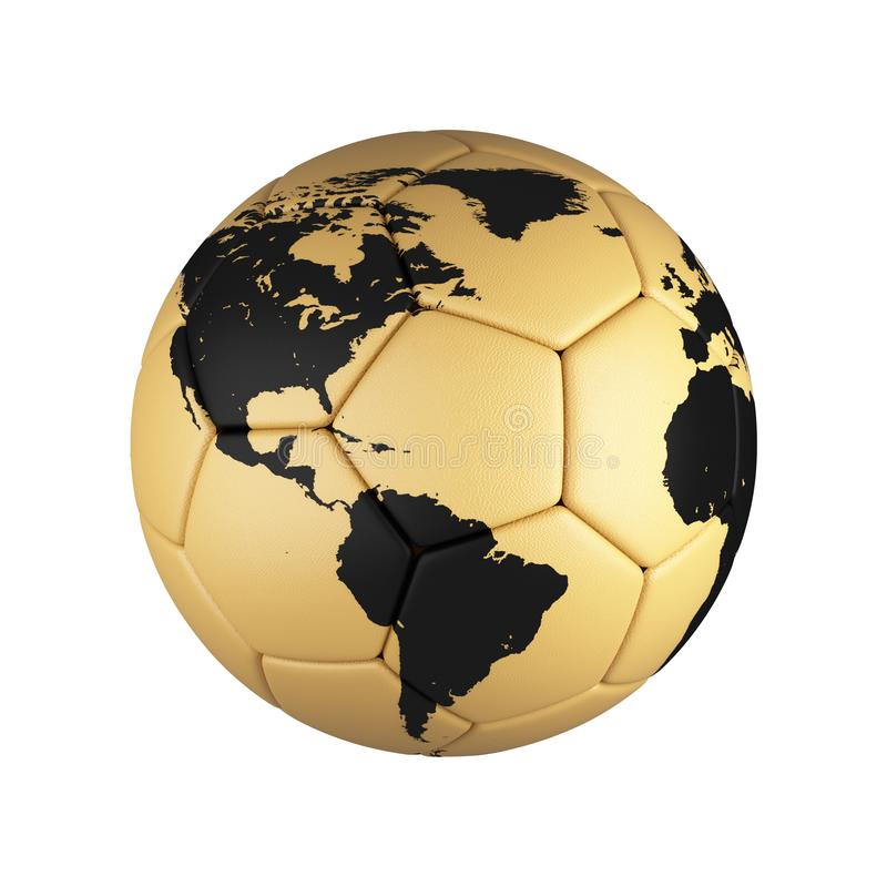 Soccer football with world map isolated on white background. royalty free illustration