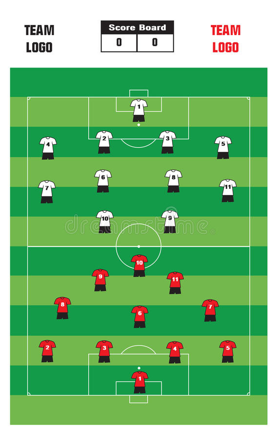 Soccer Formation. Illustration of soccer formation with score board and player costume royalty free illustration