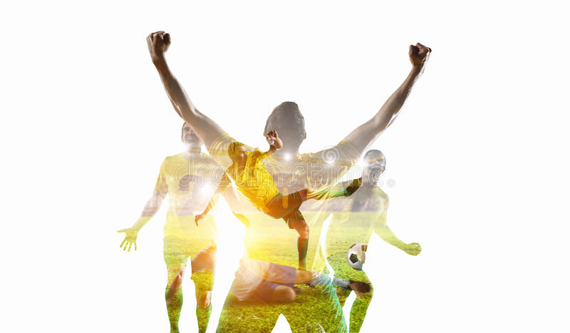 Soccer game background. Mixed media royalty free stock image