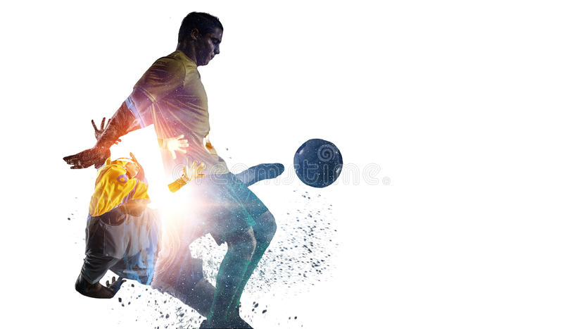 Soccer game background. Mixed media. Double exposure of soccer players on white background. Mixed media royalty free stock images