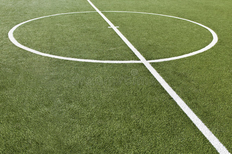 Soccer Game Field With Goal Kick Stock Photos