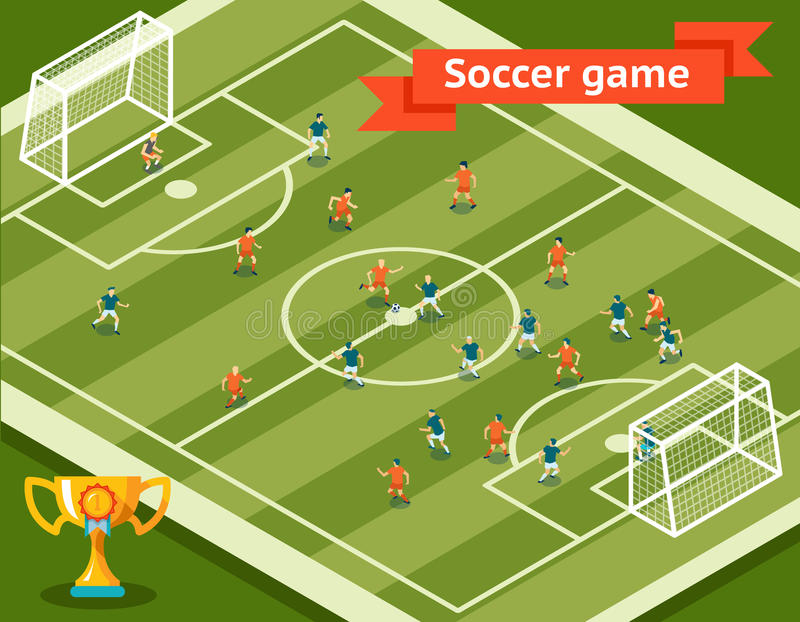 Soccer Game. Football Field And Players Stock Vector