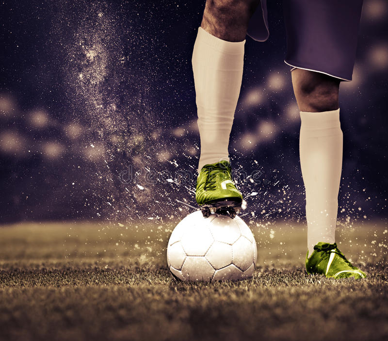 Soccer game. Soccer or football players from opposing team on the field royalty free stock photos