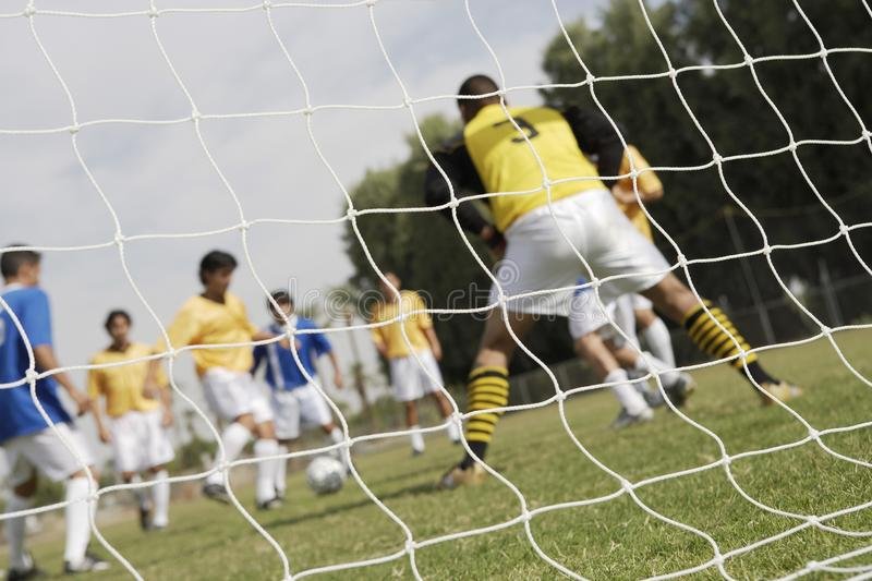 Download Soccer Game Seen Through Net Stock Photo - Image: 13585066