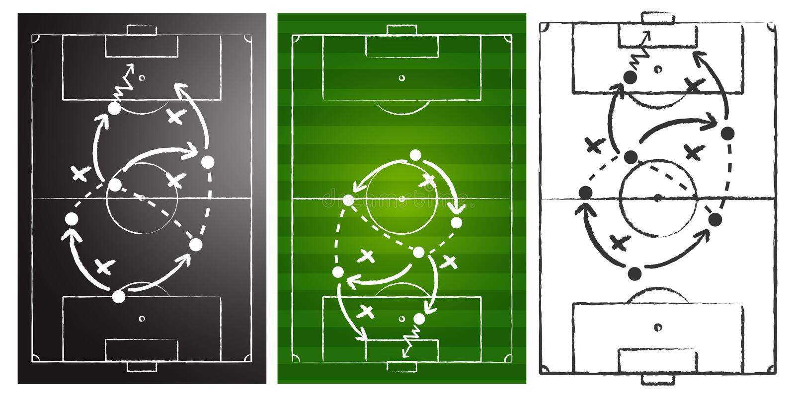 Soccer game strategy boards set royalty free illustration