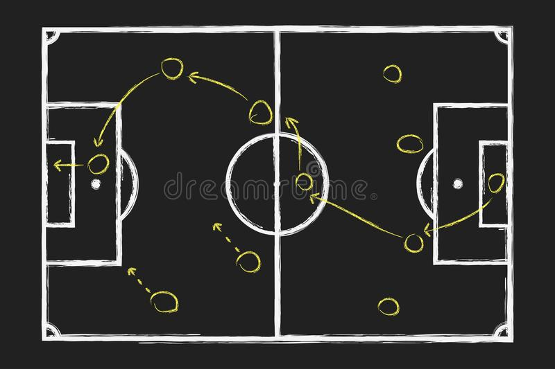 Soccer game strategy. Chalk hand drawing with football tactical plan on blackboard. Vector. vector illustration