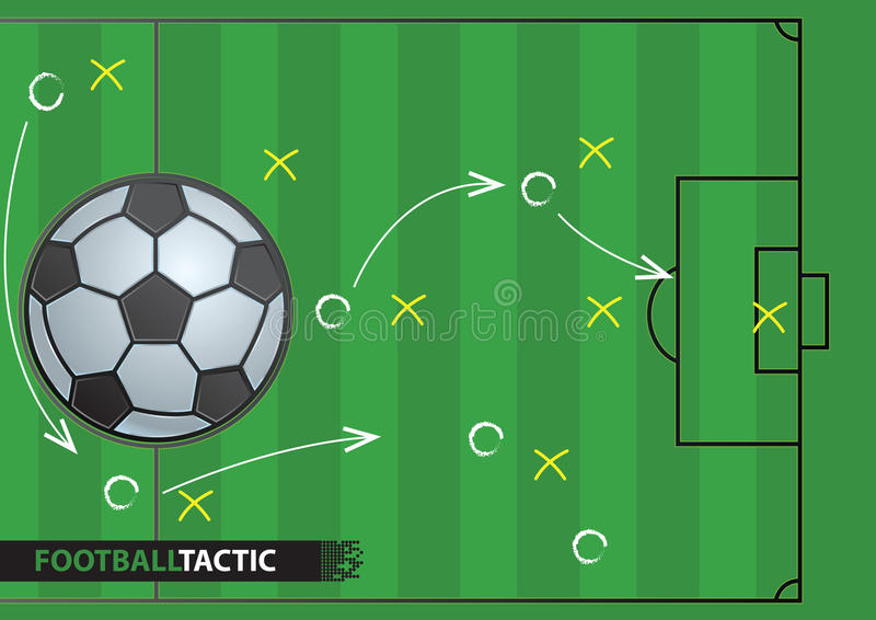 Soccer game strategy plan. football background. stock illustration