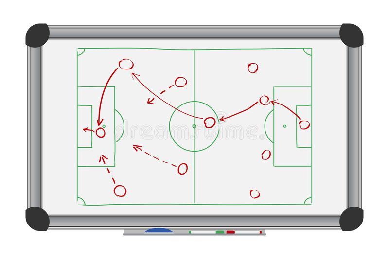 Soccer game strategy on whiteboard. Drawing with football tactical plan on marker board. Vector. stock illustration
