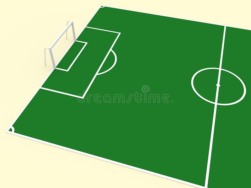 Soccer gate. Illustration of a soccer playground in green, with lines, areas, and gate vector illustration