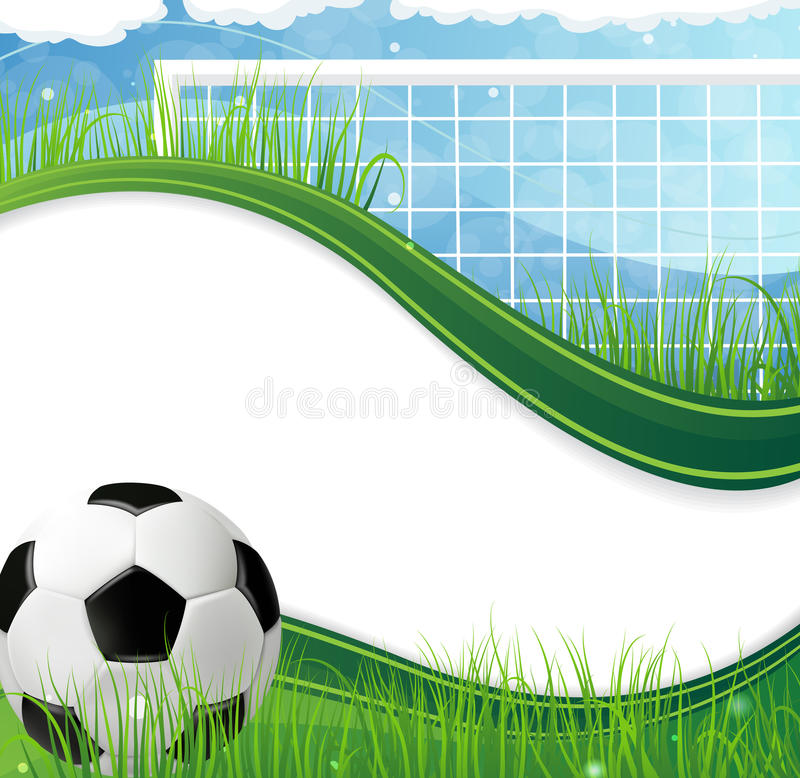 Soccer gate and ball. On grass against a blue background. Abstract soccer background vector illustration
