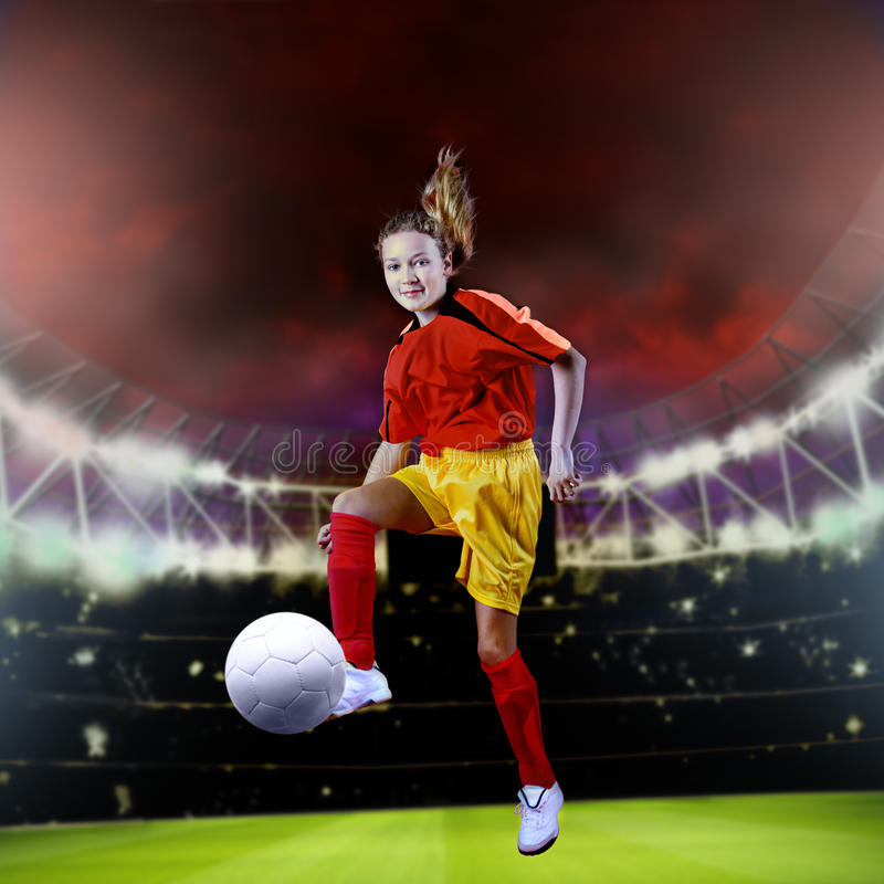 Soccer girl stock photography