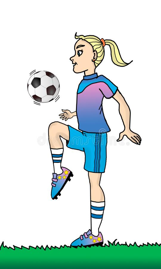 Soccer Girl 1. Full-color illustration of a young girl playing with a soccer ball vector illustration