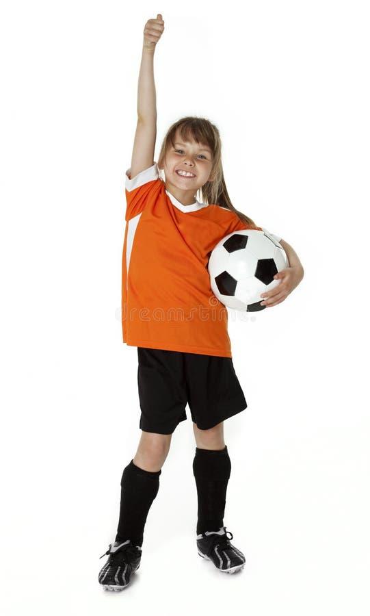 Soccer Girl on White royalty free stock photo