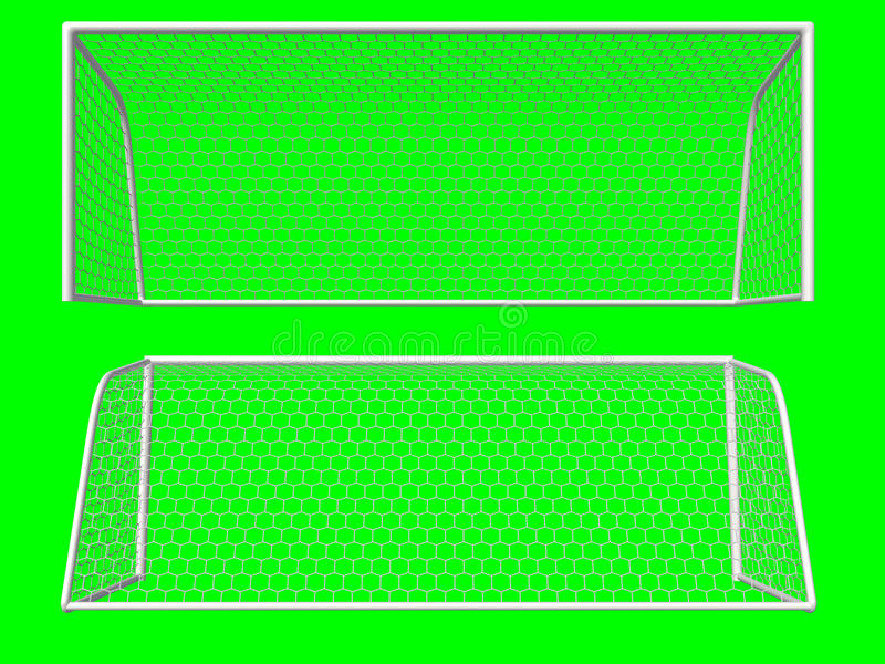 Soccer goal. Isolated on green background royalty free illustration