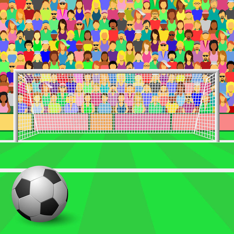 Soccer Goal. A Soccer Goal with ball and Crowd in Stadium royalty free illustration