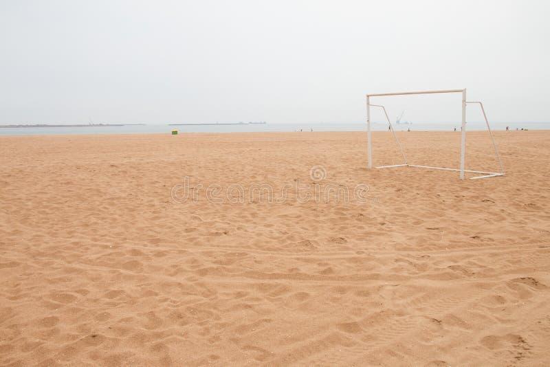 Soccer goal. On the beach stock images