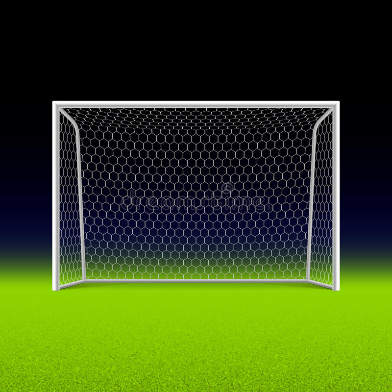 Soccer goal on black. Illustration stock illustration