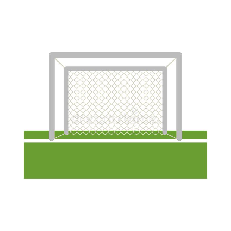 Soccer goal on field. Frontview vector illustration graphic design stock illustration