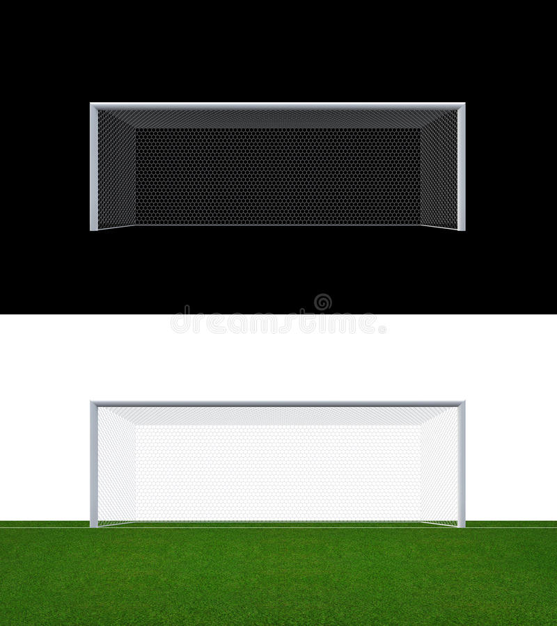 Soccer goal post and soccer net with clipping path. Soccer goal or football goal for soccer game sport royalty free illustration