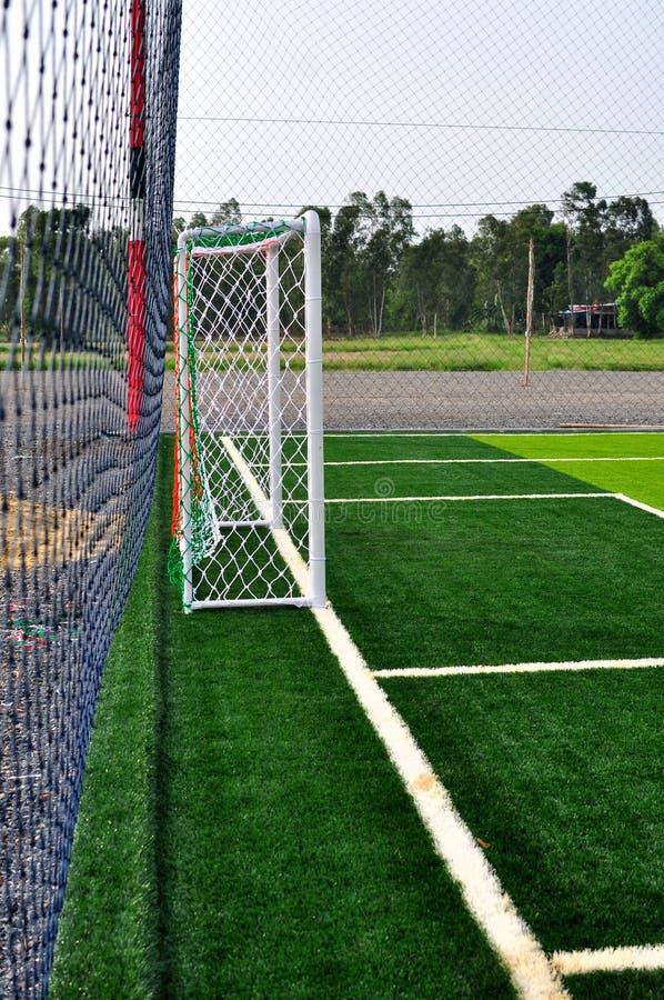 Soccer Goal. Side of soccer goal football green grass royalty free stock images
