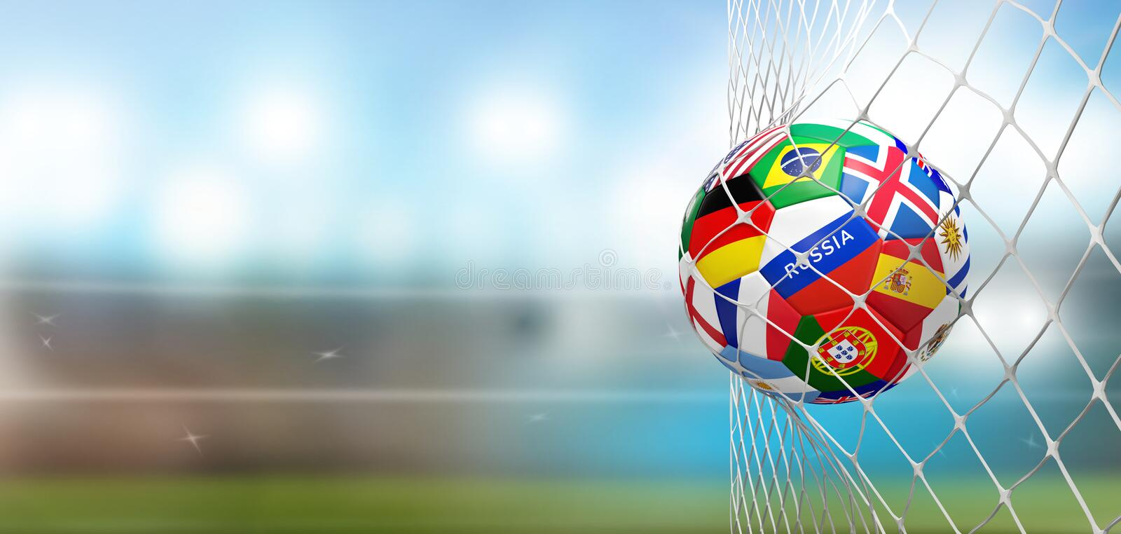 Soccer goal soccer ball with flags in net at soccer stadium 3d r royalty free illustration