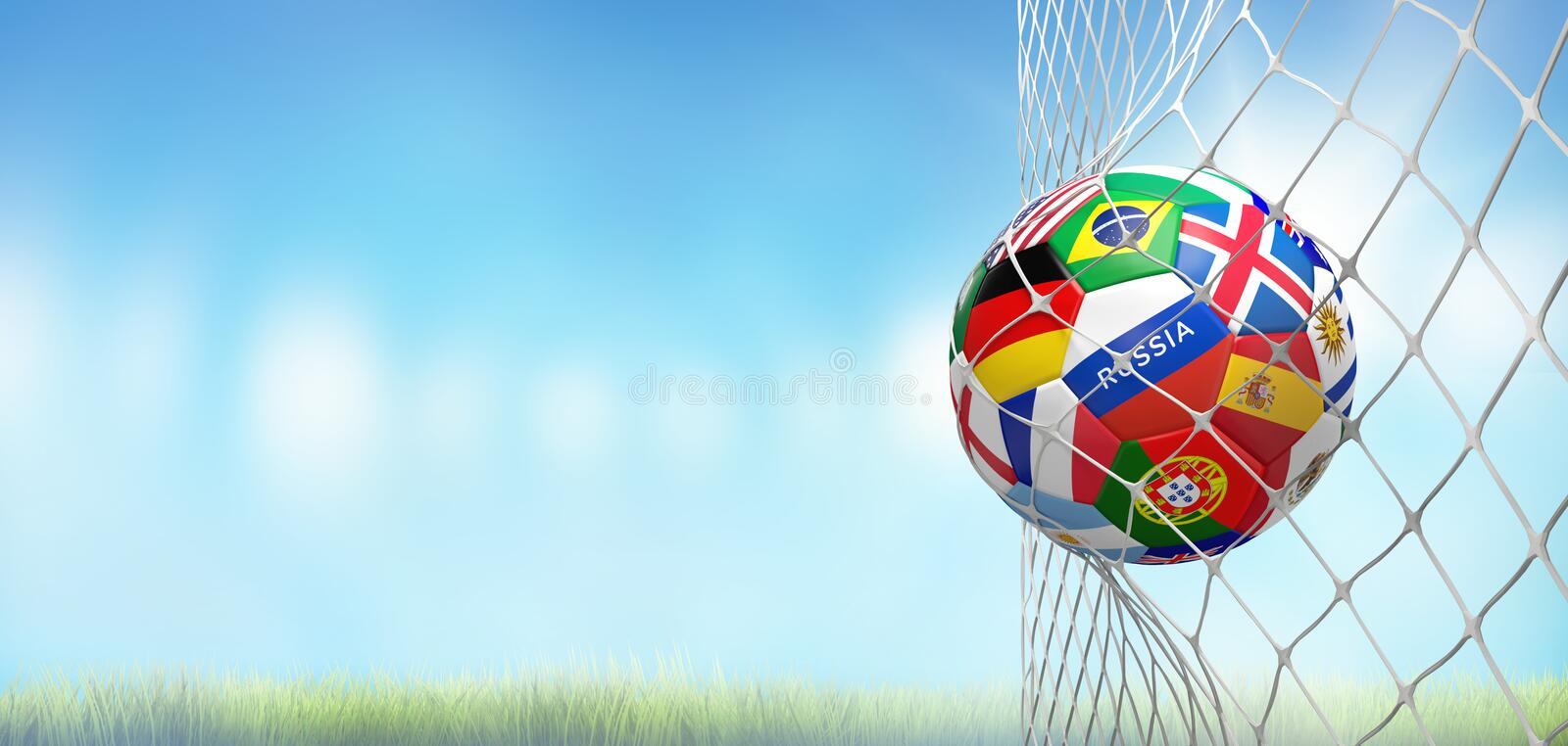 Soccer goal soccer ball with flags in net at soccer stadium 3d r. Endering design royalty free illustration