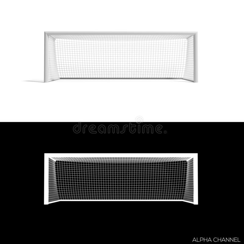 Soccer goal in white background. And alpha channel royalty free illustration