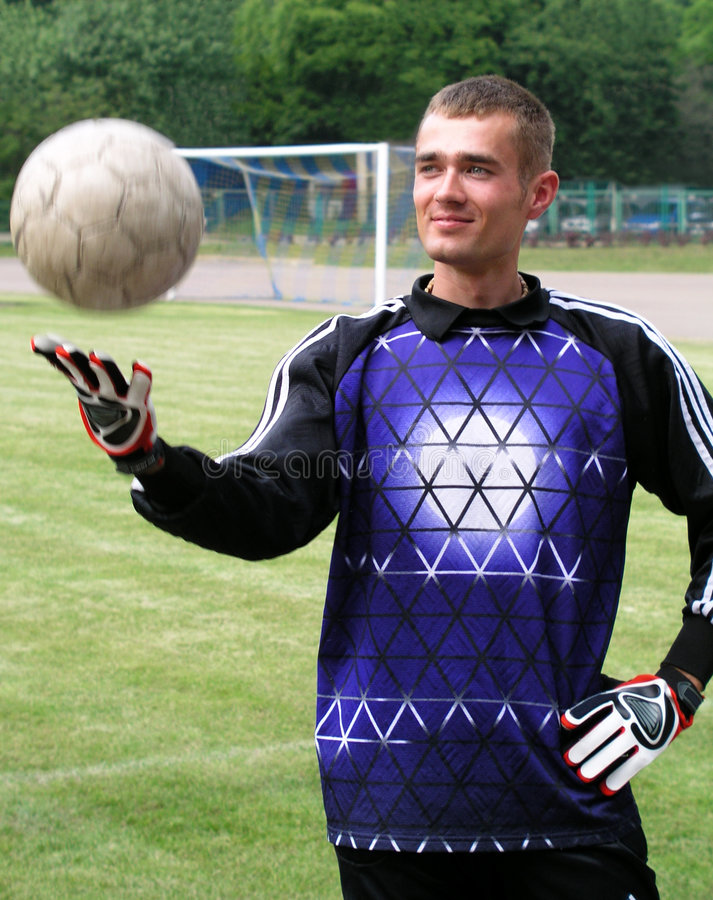 Soccer goalie. On the field stock photos