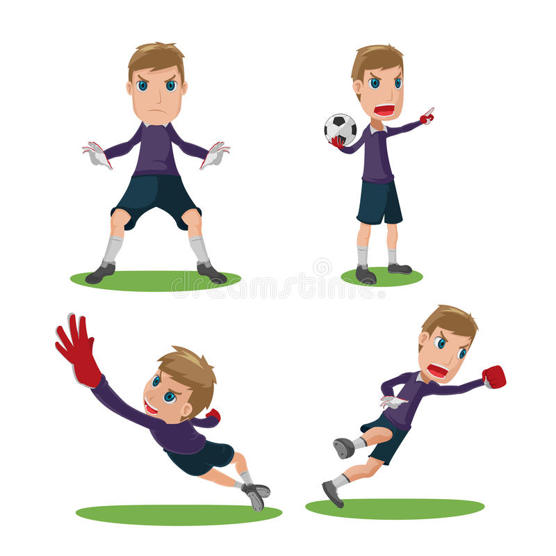 Soccer Goalkeeper Character Pose Set Vector vector illustration