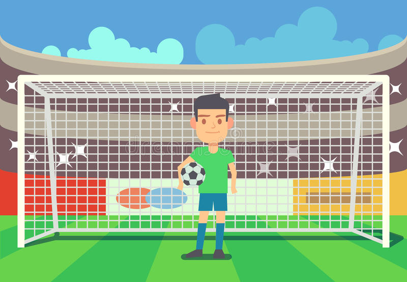 Soccer goalkeeper keeping goal vector illustration. Soccer goalkeeper keeping goal on arena vector illustration. Football keeper in frame royalty free illustration
