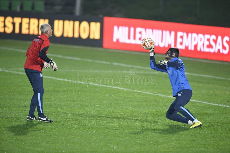 Soccer goalkeeper training session stock photography