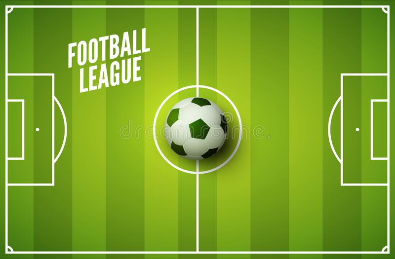Soccer grass field background. Football green field with ball. Sport stadium area royalty free illustration