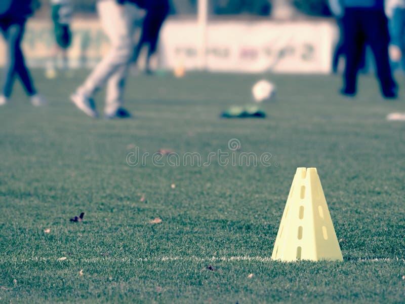 Soccer Green Grass. Football Soccer Training Equipment. Soccer Green Grass with Summer Background. Football Soccer Training Equipment stock photo