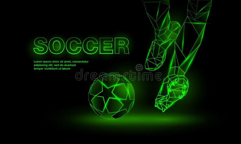 Soccer green neon banner. Polygonal Football Kickoff illustration. vector illustration