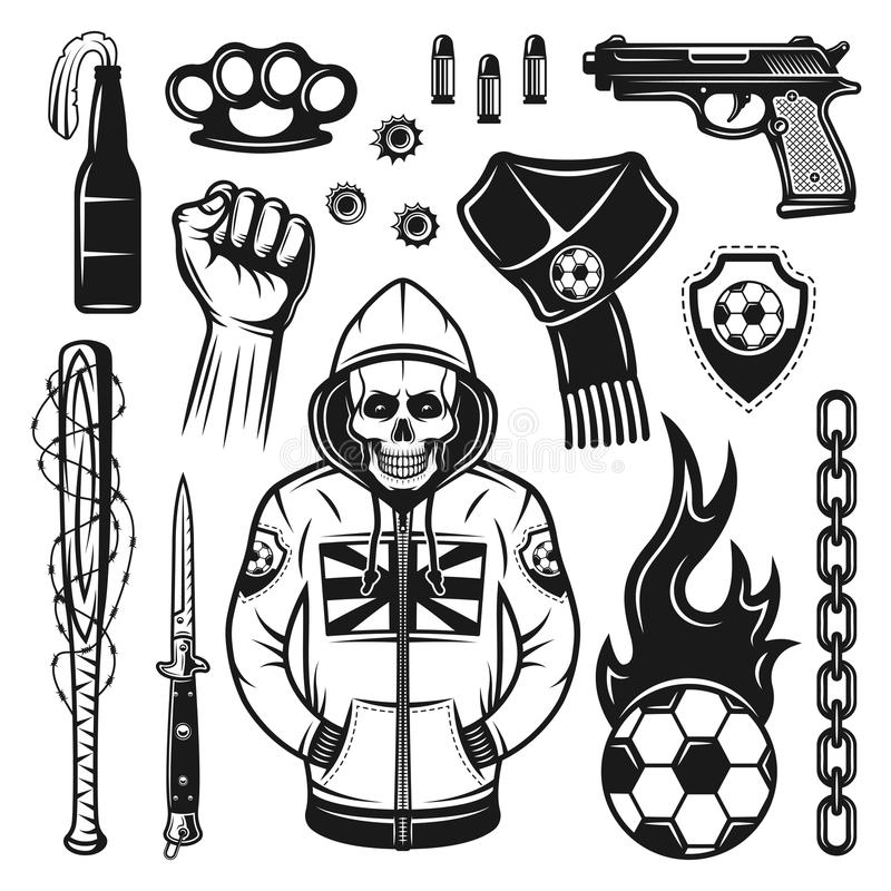 Free Soccer Hooligans Attributes Set Of Vector Objects Stock Photos - 114868063