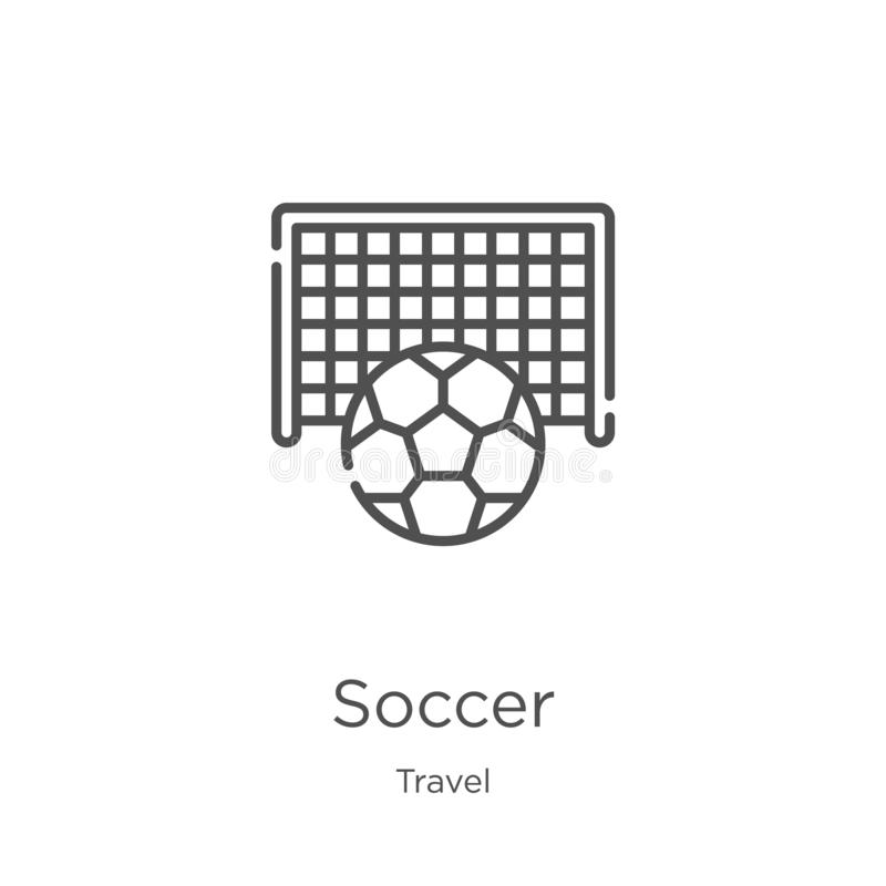 Soccer icon vector from travel collection. Thin line soccer outline icon vector illustration. Outline, thin line soccer icon for. Soccer icon. Element of travel royalty free illustration
