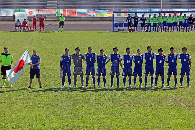 Japanese anthem. The soccer japan national deaf team during the anthem in the world cup deaf match japan vs saudi arabia played at eboli in italy royalty free stock photos