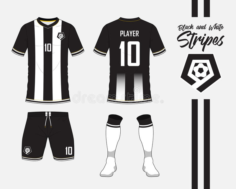 Soccer jersey, football kit collection in black and white stripes concept. Front and back view soccer uniform. Vector. Soccer jersey or football kit collection royalty free illustration