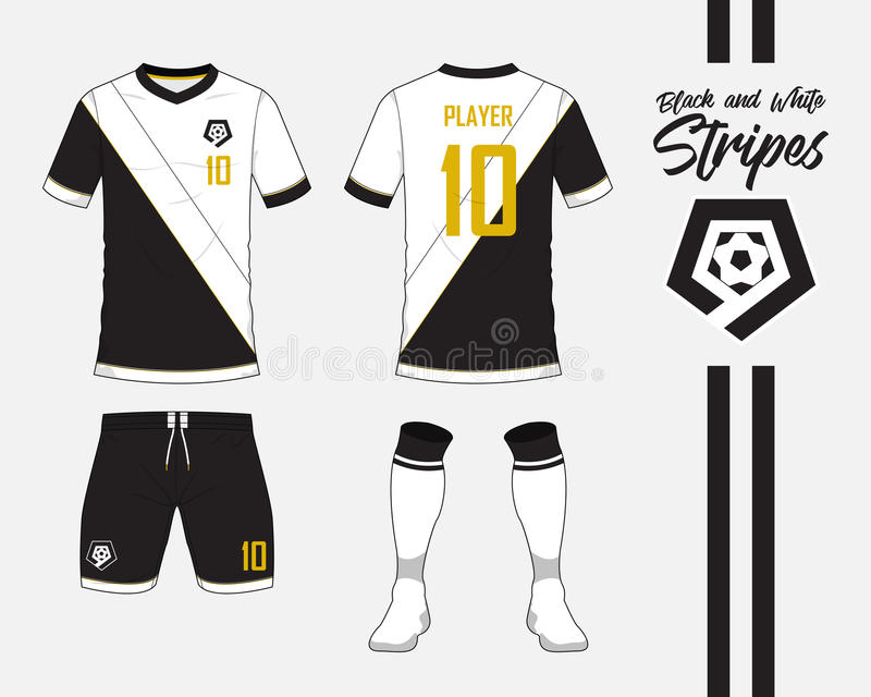 Soccer jersey, football kit collection in black and white stripes concept. Front and back view soccer uniform. Vector. Soccer jersey or football kit collection vector illustration