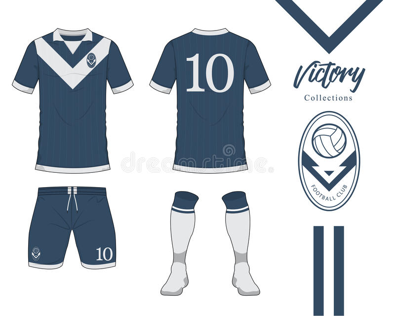 Soccer jersey or football kit collection in Victory concept. Football shirt mock up. Front and back view soccer uniform. Football logo in flat design. Vector royalty free illustration