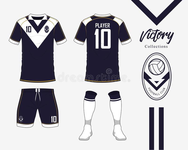 Soccer jersey or football kit collection in Victory concept. Football shirt mock up. Front and back view soccer uniform. Football logo in flat design. Vector stock illustration