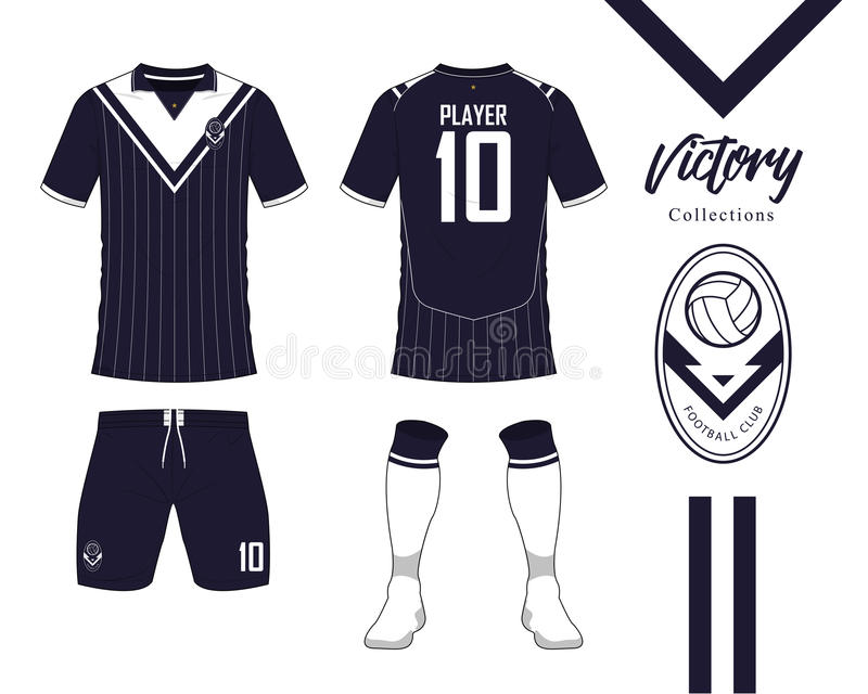 Soccer jersey or football kit collection in Victory concept. Football shirt mock up. Front and back view soccer uniform. Football logo in flat design. Vector vector illustration