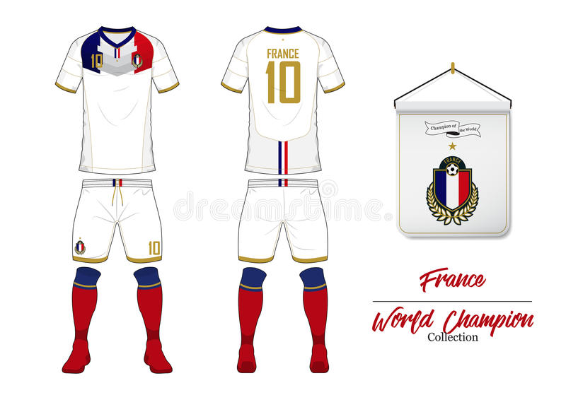Soccer jersey or football kit. France football national team. Football logo with house flag. Front and rear view soccer uniform. royalty free illustration